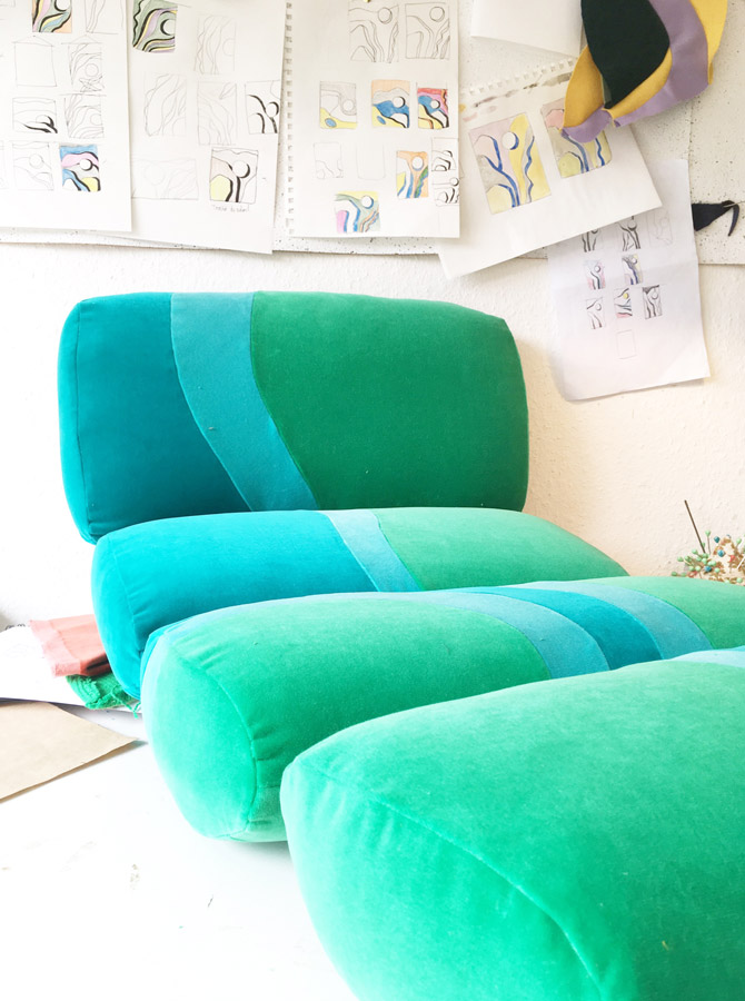 Sonia Laudet, tapissier designer à Bayonne, France, banquette Kiki