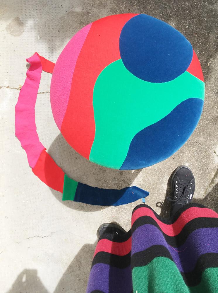 Sonia Laudet, tapissier designer à Bayonne, France, tabouret Kiki