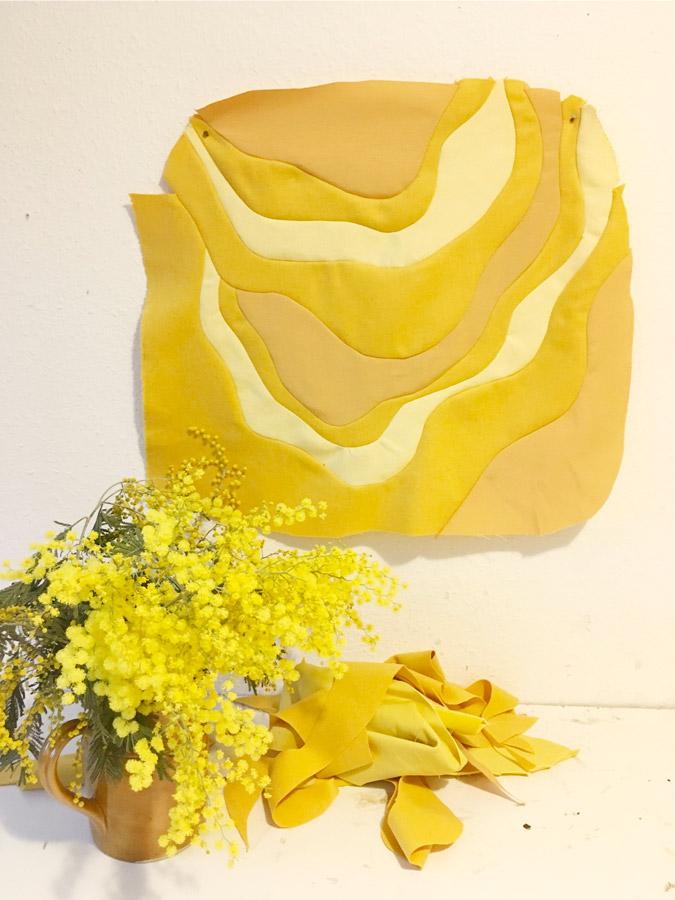 Stone, work in progress, Sonia Laudet, artiste textile mobilier à Bayonne, France