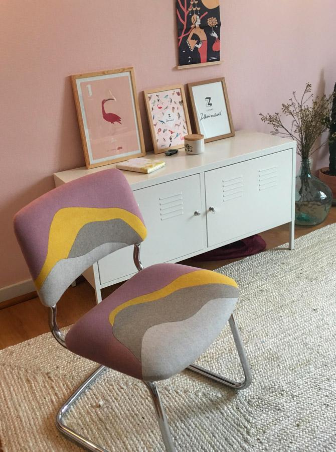 Chaise réalisée sur-mesure par Sonia Laudet, artisan français, tapissier designer à Bayonne