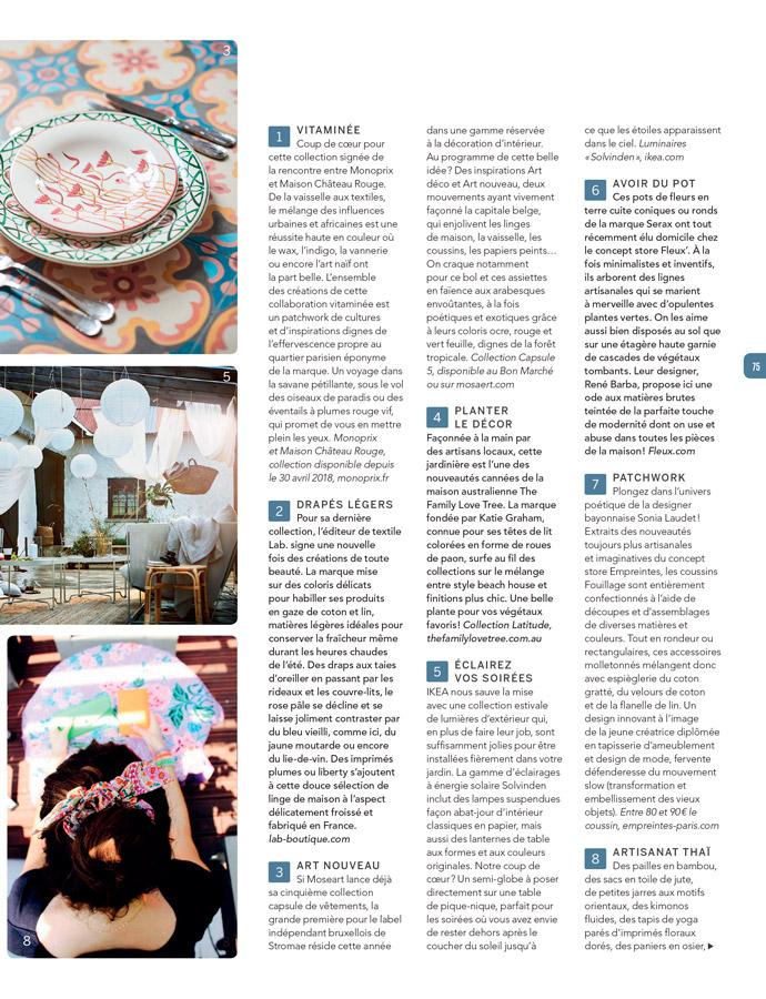 Presse Sonia Laudet - Calme magazine - été 2018