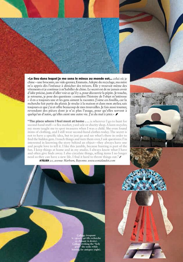 Sonia Laudet, Artiste textile mobilier à Bayonne, France, Interview dans Air France Magazine