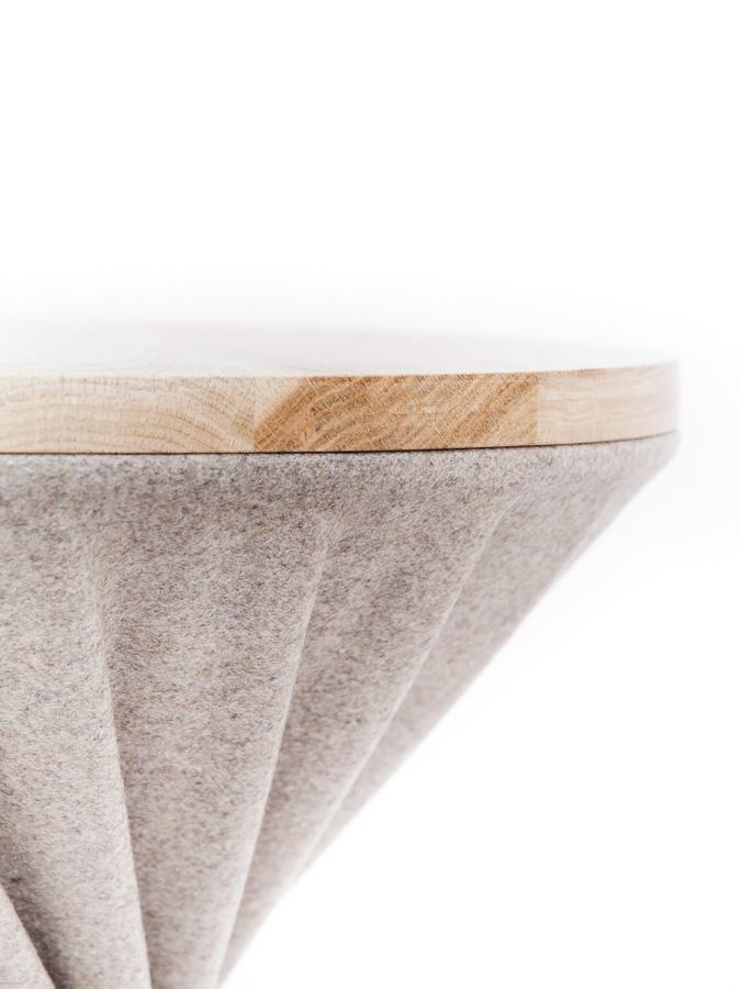 Grey woolen stool by designer Sonia Laudet