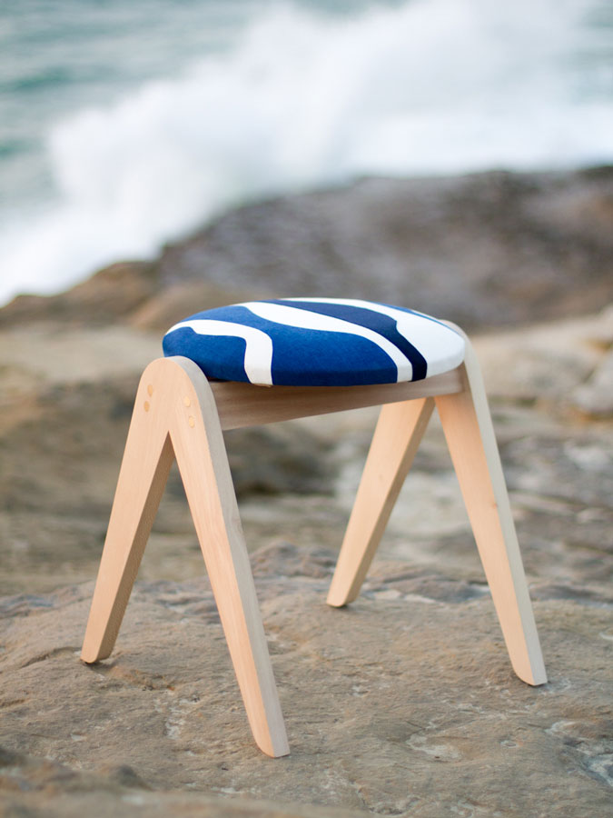 Withe and blue design stool by Sonia Laudet