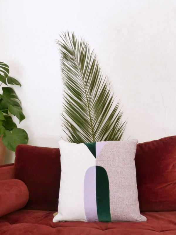 Coussins Eustache vert Sonia Laudet décoration