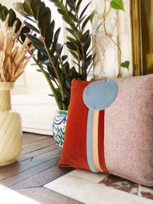 coussin Paolo rouille, textiles mixtes, designSonia Laudet, série limitée