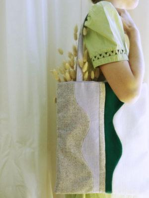 Tote bag Sonia Laudet velours, flanelle, coton