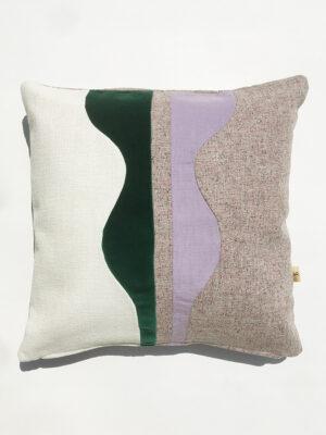 cushion vert blanc velours sonia laudet design décoration textile