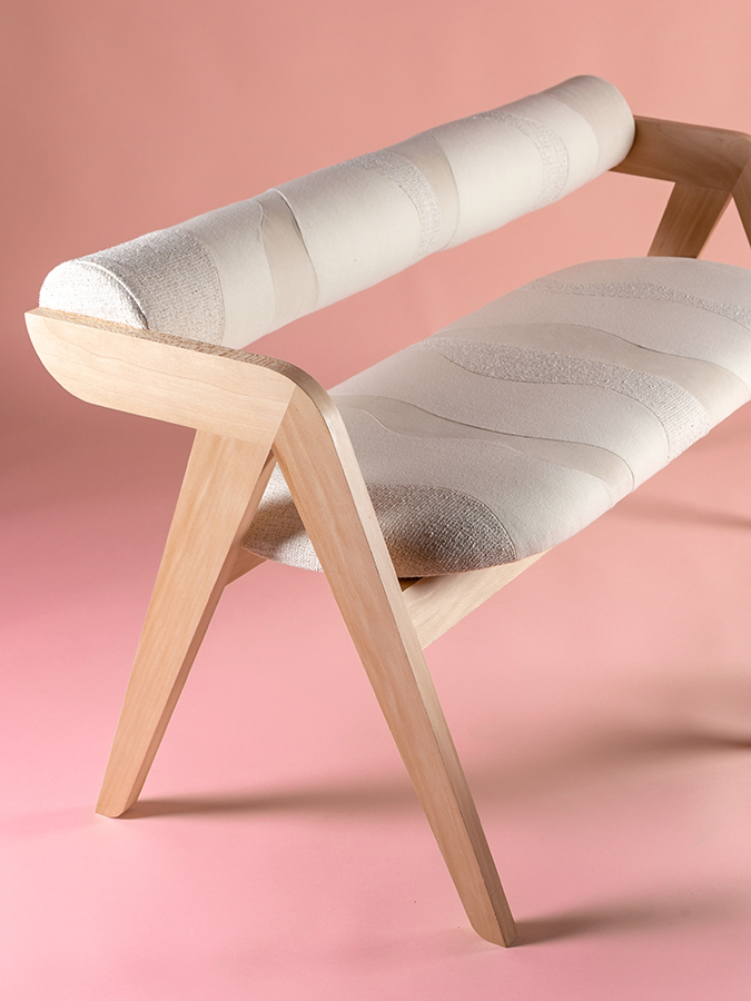 bench textile design sonia laudet ecru wood