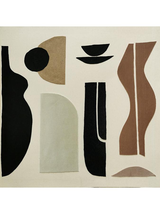 Sonia Laudet, art textile collage, collection La Nuit